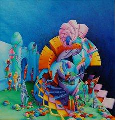 Parapluutjes - pittura dell'artista Symona Colina